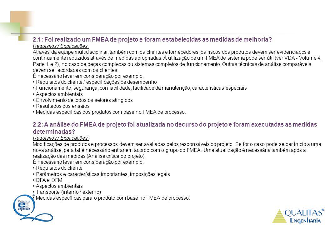 2.1: Foi realizado um FMEA de projeto e foram estabelecidas as medidas de melhoria? Requisitos / Explicações: Através da equipe multidisciplinar, tamb