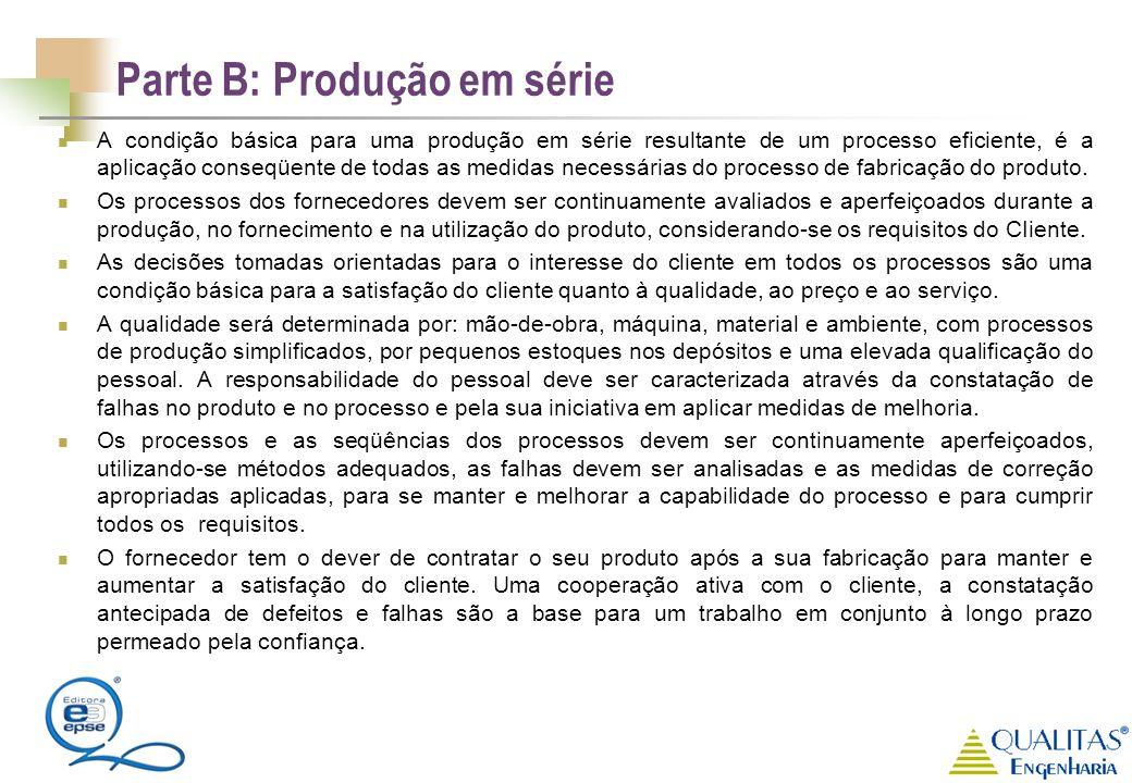 Parte B: Produção em série A condição básica para uma produção em série resultante de um processo eficiente, é a aplicação conseqüente de todas as med