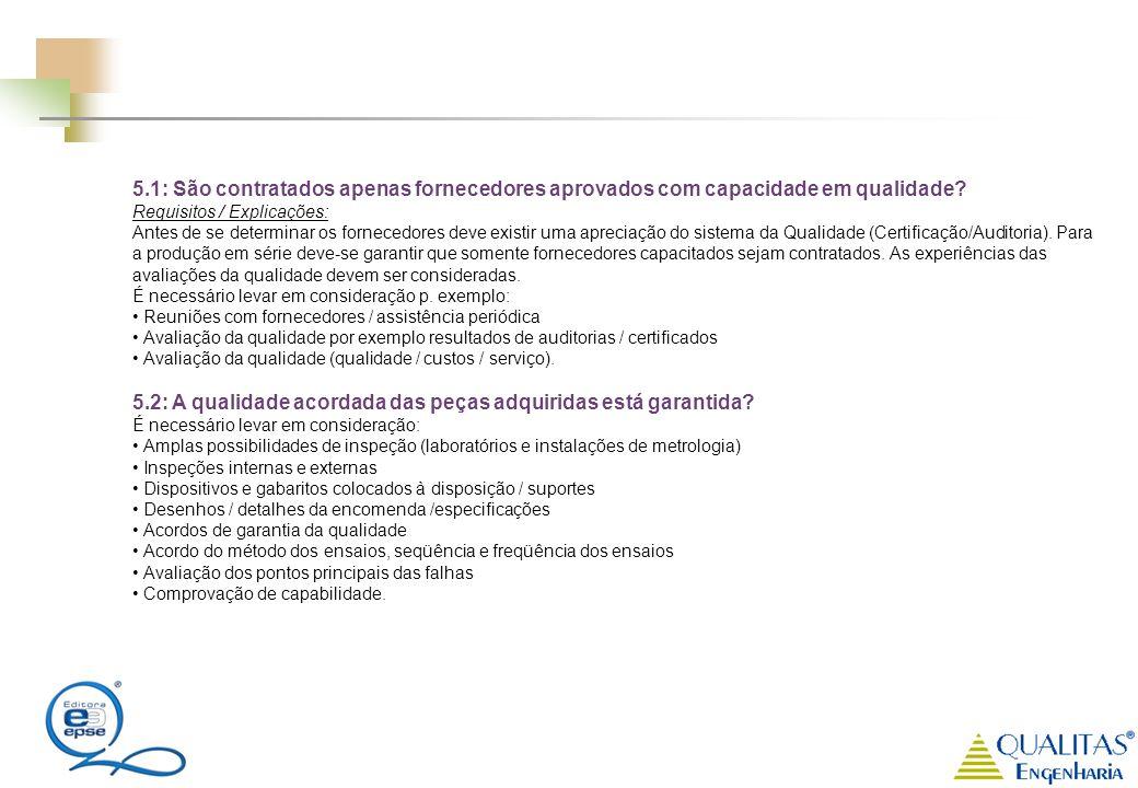 5.1: São contratados apenas fornecedores aprovados com capacidade em qualidade? Requisitos / Explicações: Antes de se determinar os fornecedores deve