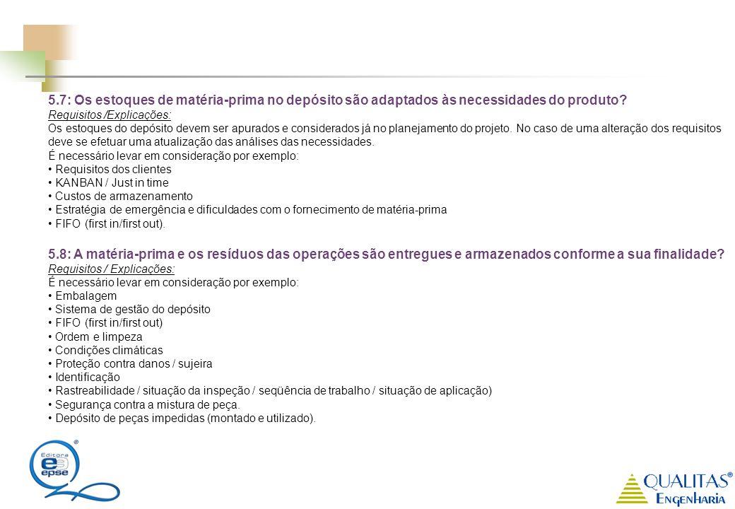 5.7: Os estoques de matéria-prima no depósito são adaptados às necessidades do produto? Requisitos /Explicações: Os estoques do depósito devem ser apu