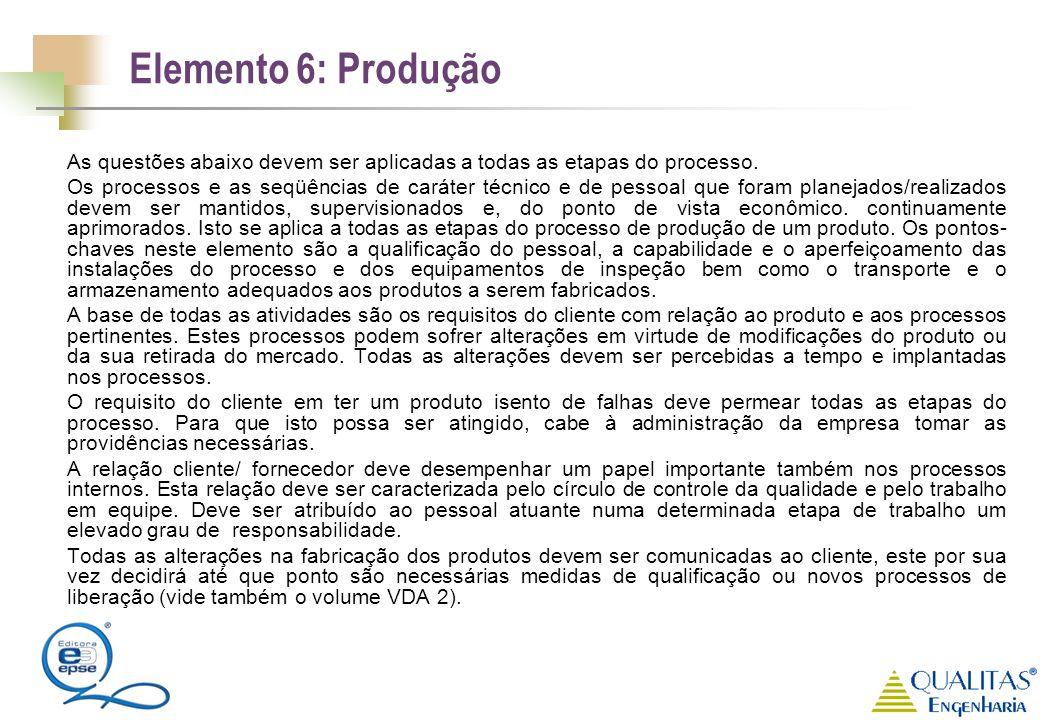Elemento 6: Produção As questões abaixo devem ser aplicadas a todas as etapas do processo. Os processos e as seqüências de caráter técnico e de pessoa