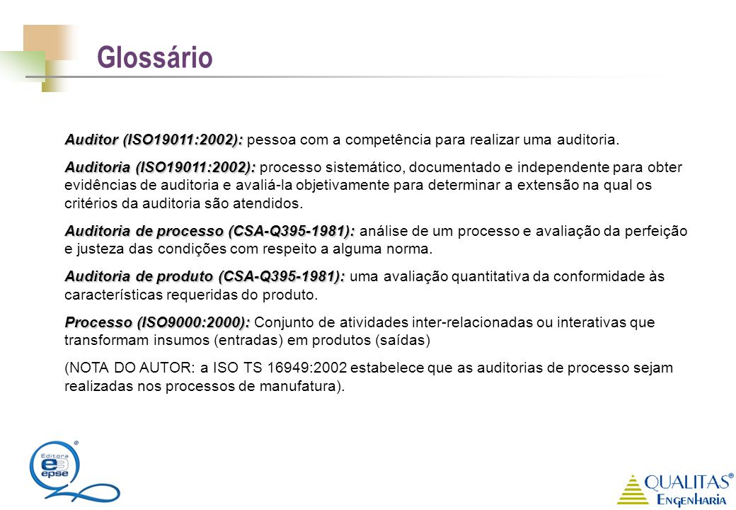 Auditor (ISO19011:2002): Auditor (ISO19011:2002): pessoa com a competência para realizar uma auditoria. Auditoria (ISO19011:2002): Auditoria (ISO19011