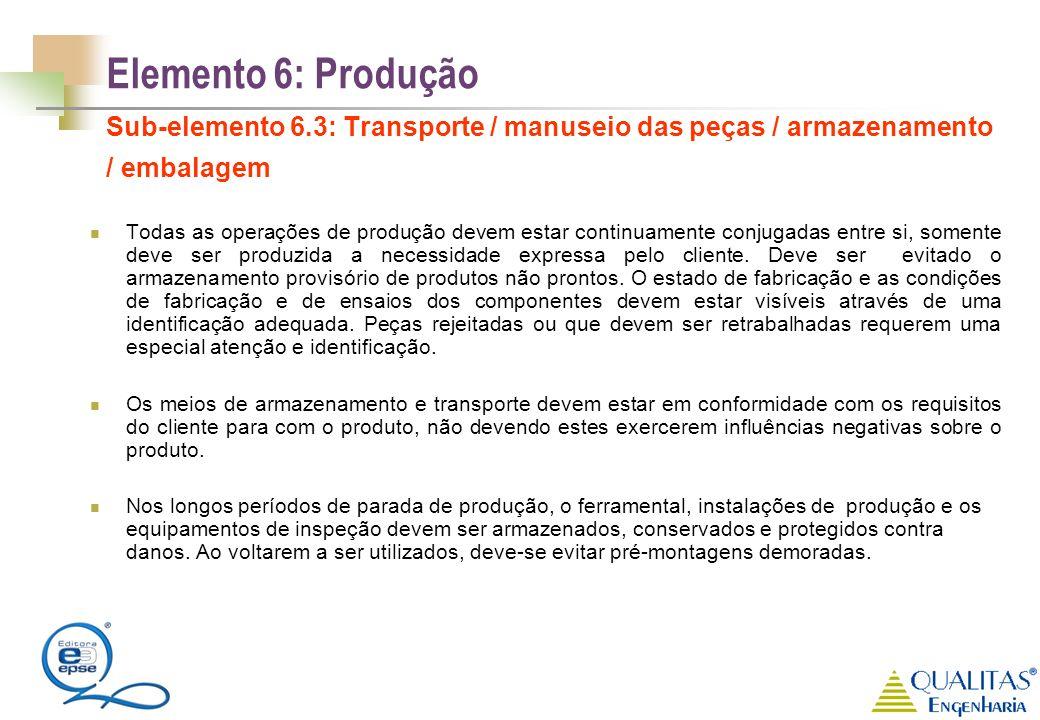Elemento 6: Produção Sub-elemento 6.3: Transporte / manuseio das peças / armazenamento / embalagem Todas as operações de produção devem estar continua