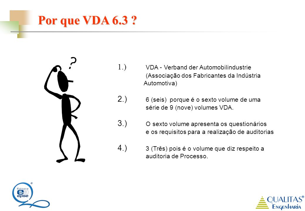 Por que VDA 6.3 ? 1.) VDA - Verband der Automobilindustrie (Associação dos Fabricantes da Indústria Automotiva) 2.) 6 (seis) porque é o sexto volume d