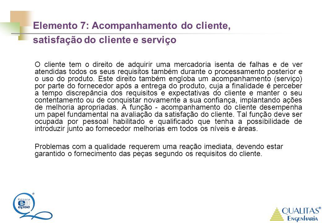 Elemento 7: Acompanhamento do cliente, satisfação do cliente e serviço O cliente tem o direito de adquirir uma mercadoria isenta de falhas e de ver at