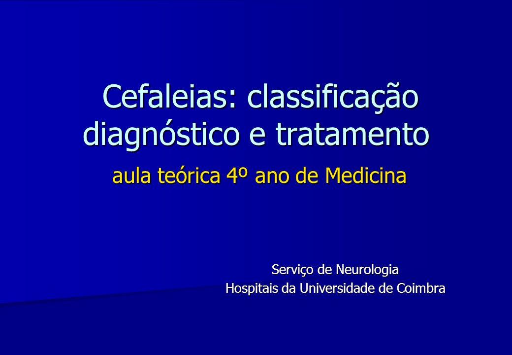 Cefaleias: classificação diagnóstico e tratamento aula teórica 4º ano de Medicina Cefaleias: classificação diagnóstico e tratamento aula teórica 4º an