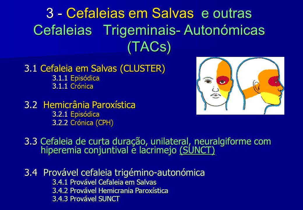 3 - Cefaleias em Salvas e outras Cefaleias Trigeminais- Autonómicas (TACs) 3.1 Cefaleia em Salvas (CLUSTER) 3.1.1 Episódica 3.1.1 Crónica 3.2 Hemicrân