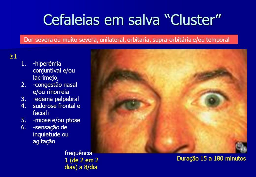 Cefaleias em salva Cluster Duração 15 a 180 minutos frequência 1 (de 2 em 2 dias) a 8/dia 1 1. 1.-hiperémia conjuntival e/ou lacrimejo, 2. 2.-congestã