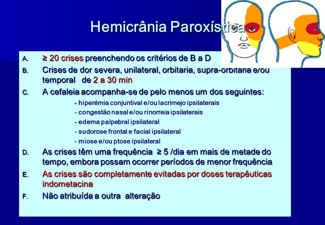 A. 20 crises preenchendo os critérios de B a D B. Crises de dor severa, unilateral, orbitaria, supra-orbitaria e/ou temporal de 2 a 30 min C. A cefale