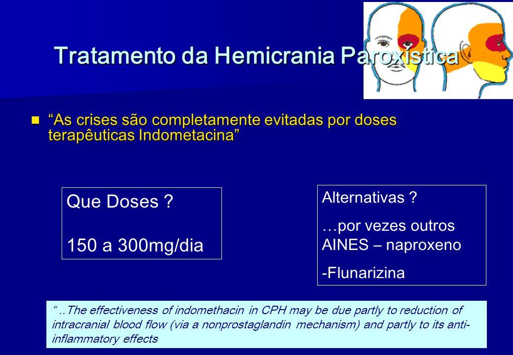 Tratamento da Hemicrania Paroxística As crises são completamente evitadas por doses terapêuticas Indometacina As crises são completamente evitadas por