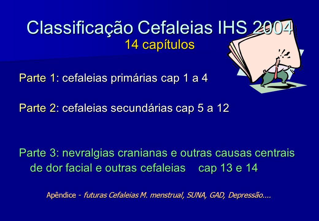 Classificação Cefaleias IHS 2004 14 capítulos Parte 1: cefaleias primárias cap 1 a 4 Parte 2: cefaleias secundárias cap 5 a 12 Parte 3: nevralgias cra