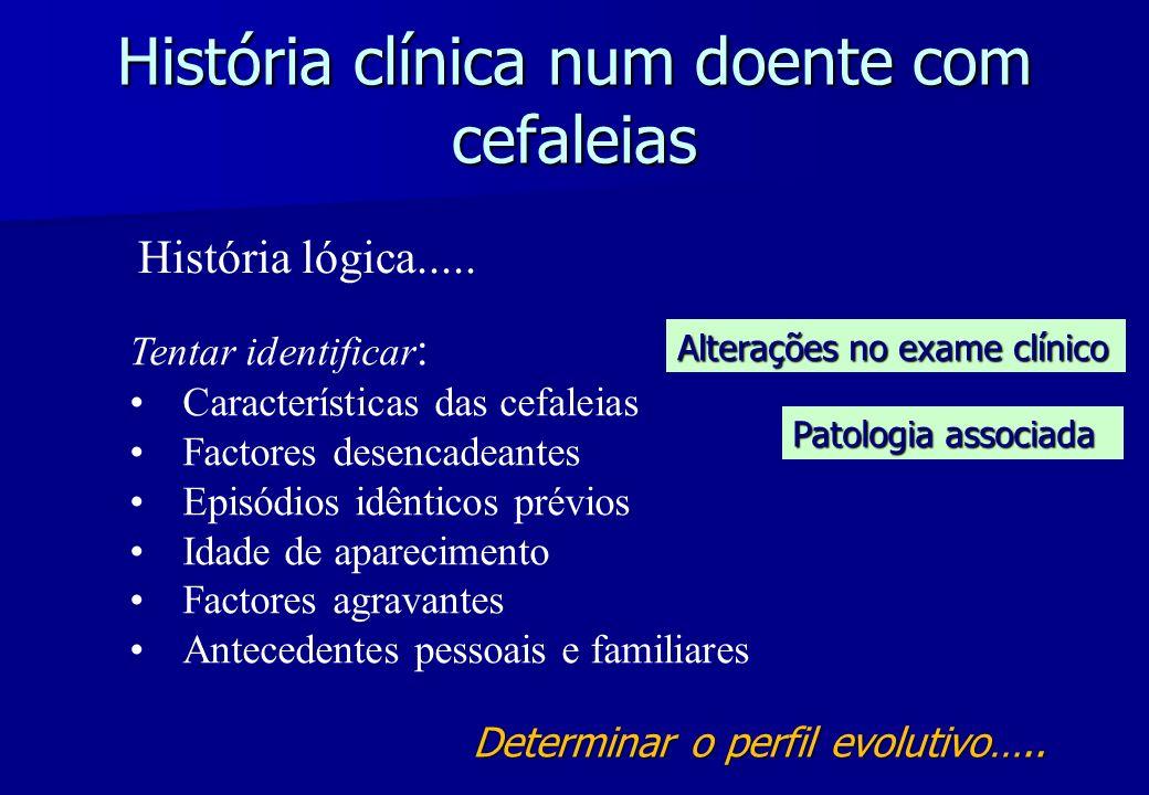 História clínica num doente com cefaleias Tentar identificar : Características das cefaleias Factores desencadeantes Episódios idênticos prévios Idade