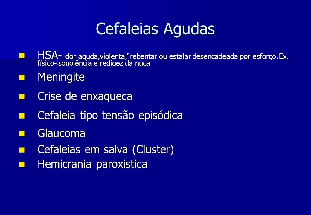 Cefaleias Agudas HSA- dor aguda,violenta,rebentar ou estalar desencadeada por esforço. Ex. físico- sonolência e redigez da nuca HSA- dor aguda,violent