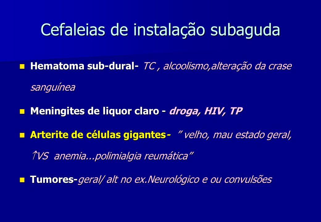Cefaleias de instalação subaguda Hematoma sub-dural- TC, alcoolismo,alteração da crase sanguínea Hematoma sub-dural- TC, alcoolismo,alteração da crase