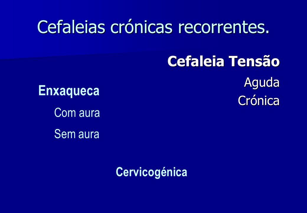Cefaleias crónicas recorrentes. Cefaleia Tensão Aguda AgudaCrónica Enxaqueca Com aura Sem aura Cervicogénica