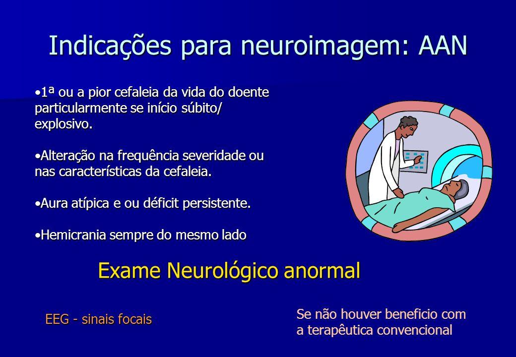 Indicações para neuroimagem: AAN 1ª ou a pior cefaleia da vida do doente particularmente se início súbito/ explosivo.1ª ou a pior cefaleia da vida do