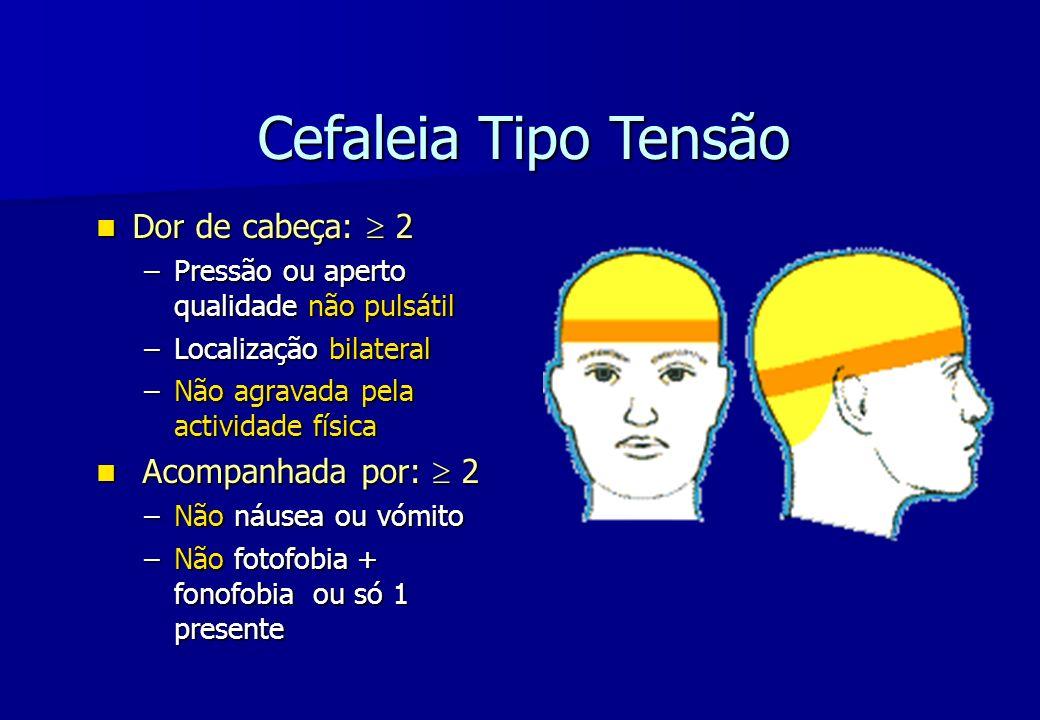Cefaleia Tipo Tensão Dor de cabeça: 2 Dor de cabeça: 2 –Pressão ou aperto qualidade não pulsátil –Localização bilateral –Não agravada pela actividade