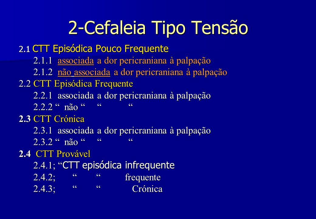 2-Cefaleia Tipo Tensão 2.1 CTT Episódica Pouco Frequente 2.1.1 associada a dor pericraniana à palpação 2.1.2 não associada a dor pericraniana à palpaç