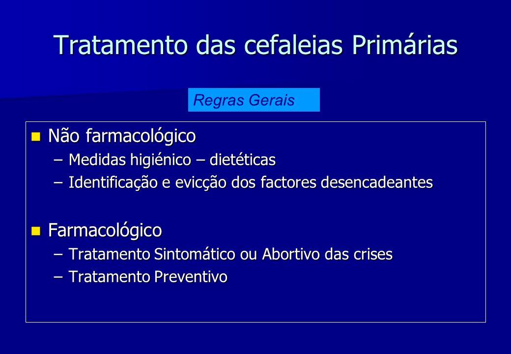 Tratamento das cefaleias Primárias Não farmacológico Não farmacológico –Medidas higiénico – dietéticas –Identificação e evicção dos factores desencade