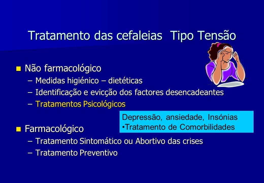 Tratamento das cefaleias Tipo Tensão Não farmacológico Não farmacológico –Medidas higiénico – dietéticas –Identificação e evicção dos factores desenca