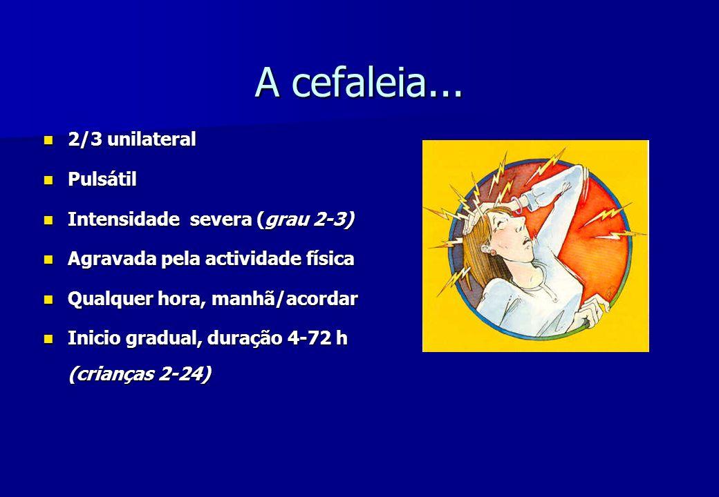 A cefaleia... 2/3 unilateral 2/3 unilateral Pulsátil Pulsátil Intensidade severa (grau 2-3) Intensidade severa (grau 2-3) Agravada pela actividade fís