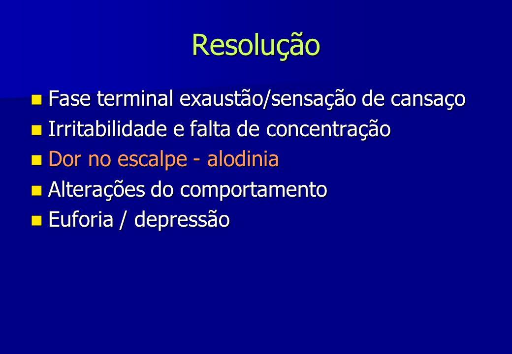 Resolução Fase terminal exaustão/sensação de cansaço Fase terminal exaustão/sensação de cansaço Irritabilidade e falta de concentração Irritabilidade