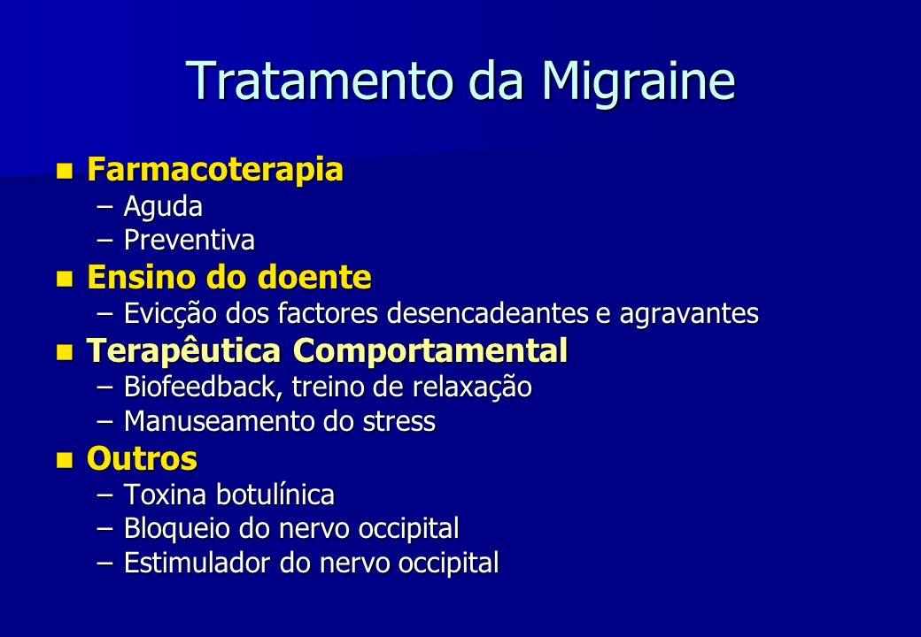 Tratamento da Migraine Farmacoterapia Farmacoterapia –Aguda –Preventiva Ensino do doente Ensino do doente –Evicção dos factores desencadeantes e agrav