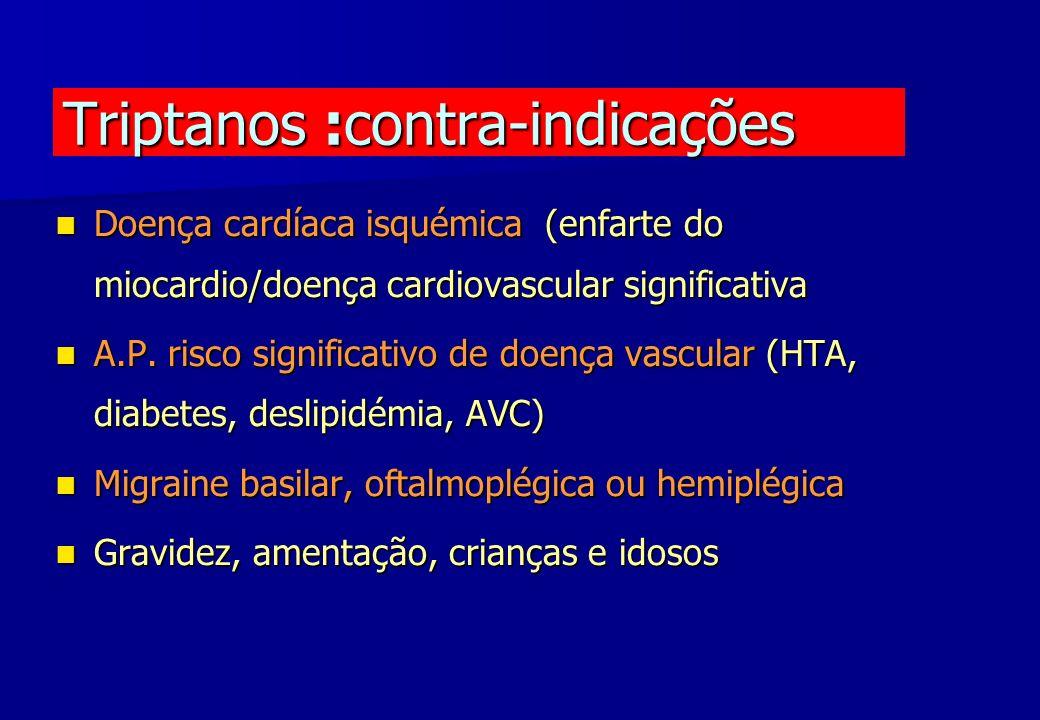 Triptanos :contra-indicações Doença cardíaca isquémica (enfarte do miocardio/doença cardiovascular significativa Doença cardíaca isquémica (enfarte do