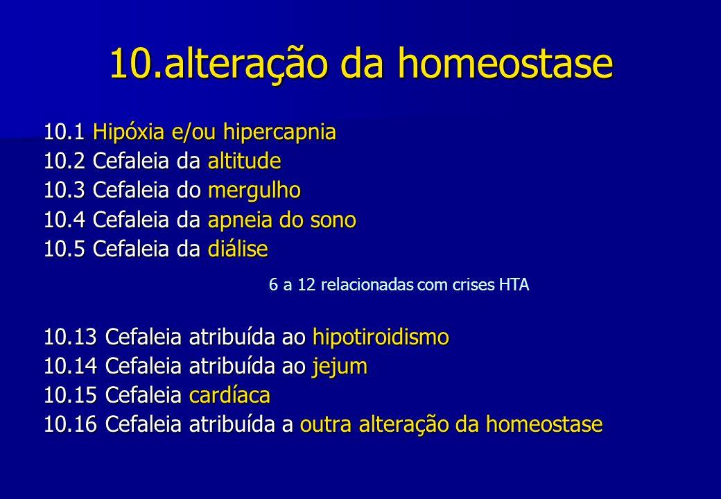 10.alteração da homeostase 10.1 Hipóxia e/ou hipercapnia 10.2 Cefaleia da altitude 10.3 Cefaleia do mergulho 10.4 Cefaleia da apneia do sono 10.5 Cefa