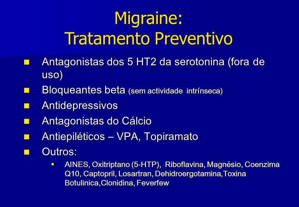 Migraine: Tratamento Preventivo Antagonistas dos 5 HT2 da serotonina (fora de uso) Antagonistas dos 5 HT2 da serotonina (fora de uso) Bloqueantes beta