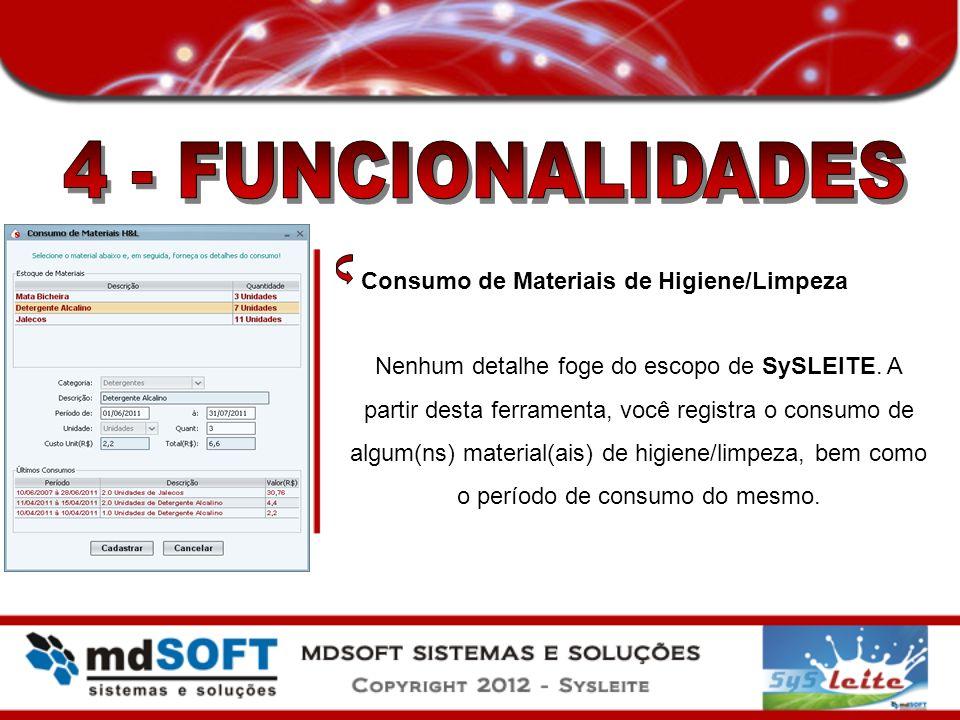 Consumo de Materiais de Higiene/Limpeza Nenhum detalhe foge do escopo de SySLEITE. A partir desta ferramenta, você registra o consumo de algum(ns) mat
