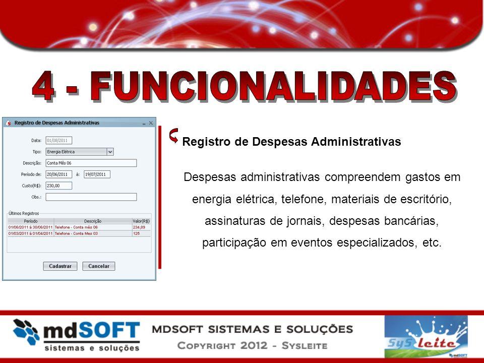 Registro de Despesas Administrativas Despesas administrativas compreendem gastos em energia elétrica, telefone, materiais de escritório, assinaturas d