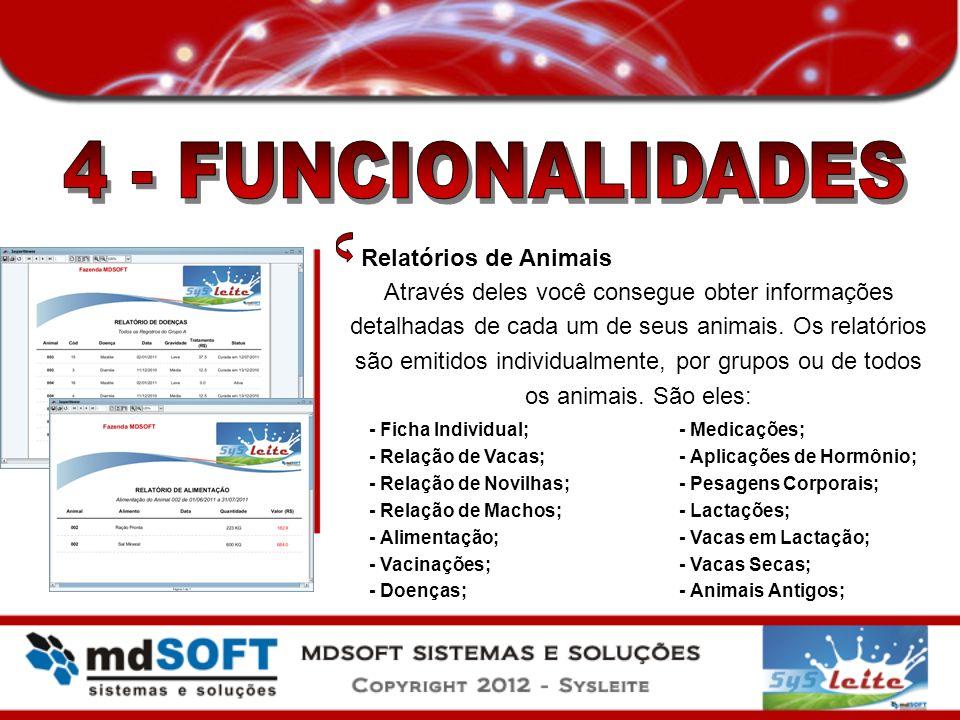 Relatórios de Animais Através deles você consegue obter informações detalhadas de cada um de seus animais. Os relatórios são emitidos individualmente,