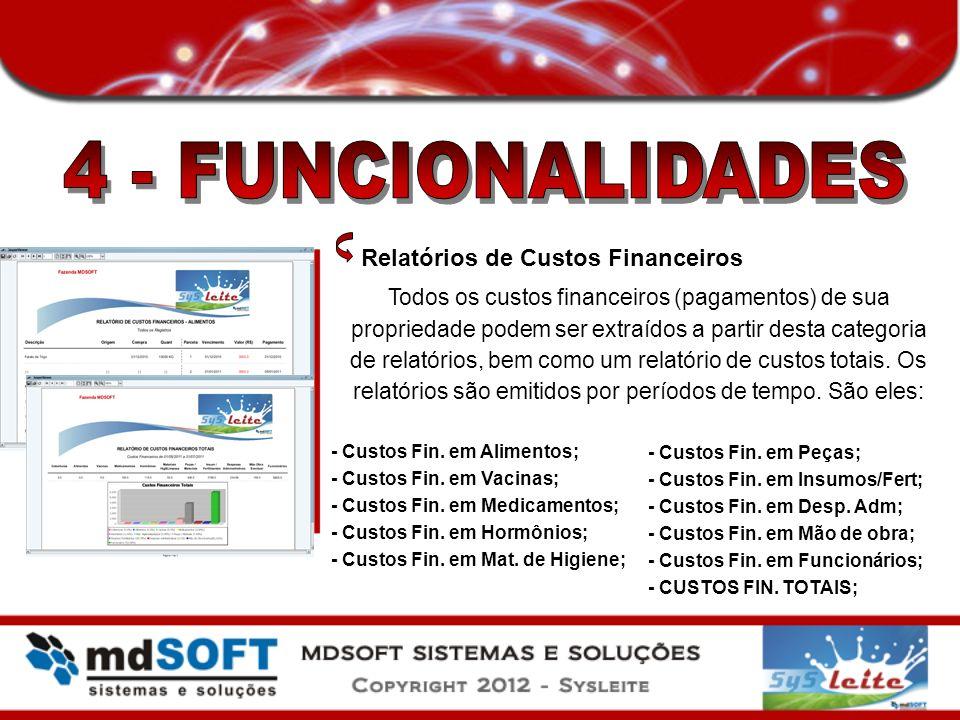 Relatórios de Custos Financeiros Todos os custos financeiros (pagamentos) de sua propriedade podem ser extraídos a partir desta categoria de relatório