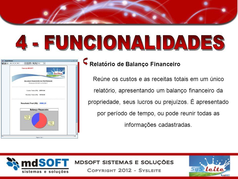 Relatório de Balanço Financeiro Reúne os custos e as receitas totais em um único relatório, apresentando um balanço financeiro da propriedade, seus lu