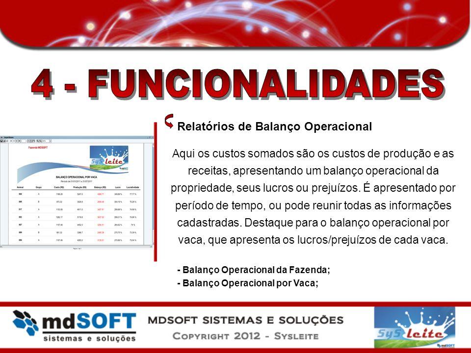 Relatórios de Balanço Operacional Aqui os custos somados são os custos de produção e as receitas, apresentando um balanço operacional da propriedade,