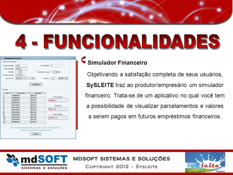 Simulador Financeiro Objetivando a satisfação completa de seus usuários, SySLEITE traz ao produtor/empresário um simulador financeiro. Trata-se de um