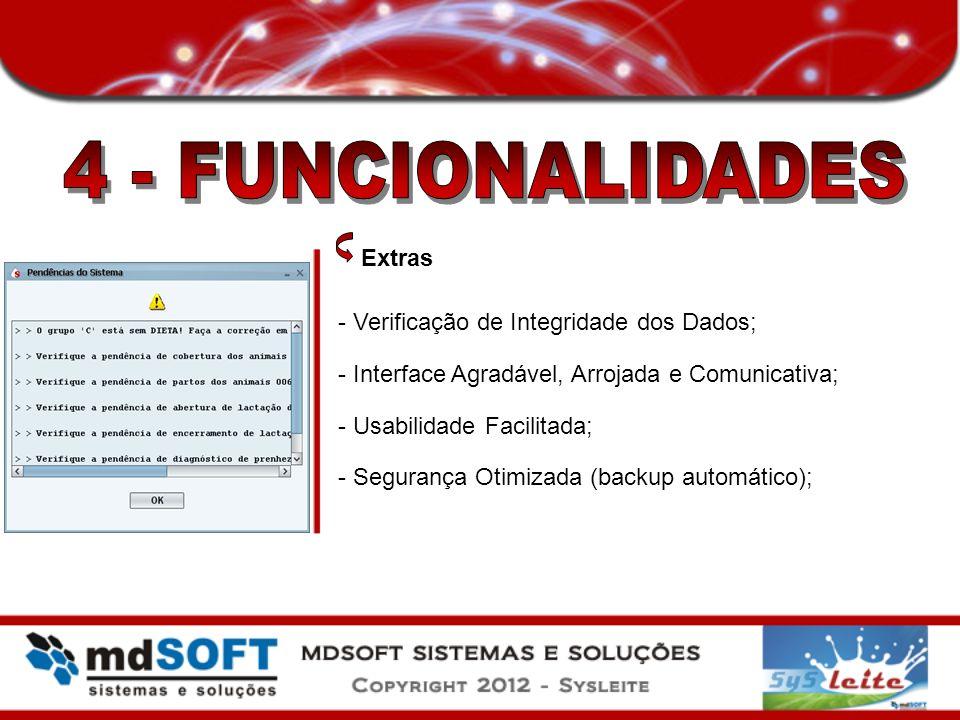 Extras - Verificação de Integridade dos Dados; - Interface Agradável, Arrojada e Comunicativa; - Usabilidade Facilitada; - Segurança Otimizada (backup