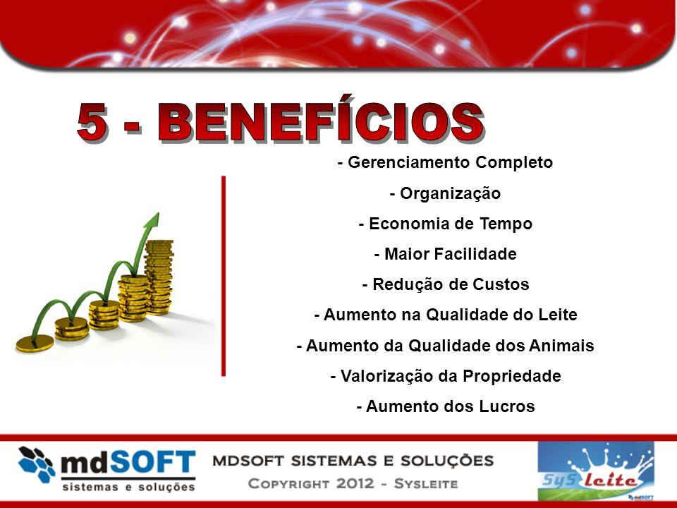 - Gerenciamento Completo - Organização - Economia de Tempo - Maior Facilidade - Redução de Custos - Aumento na Qualidade do Leite - Aumento da Qualida