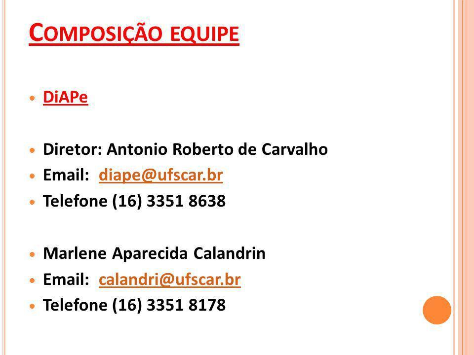 C OMPOSIÇÃO EQUIPE DiAPe Diretor: Antonio Roberto de Carvalho Email: diape@ufscar.brdiape@ufscar.br Telefone (16) 3351 8638 Marlene Aparecida Calandrin Email: calandri@ufscar.brcalandri@ufscar.br Telefone (16) 3351 8178