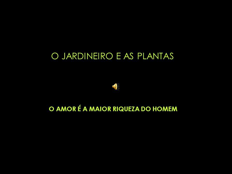 O JARDINEIRO E AS PLANTAS O AMOR É A MAIOR RIQUEZA DO HOMEM