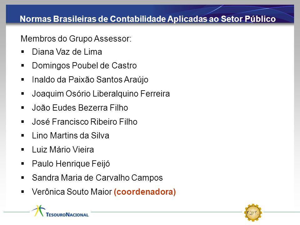Normas Brasileiras de Contabilidade Aplicadas ao Setor Público Membros do Grupo Assessor: Diana Vaz de Lima Domingos Poubel de Castro Inaldo da Paixão