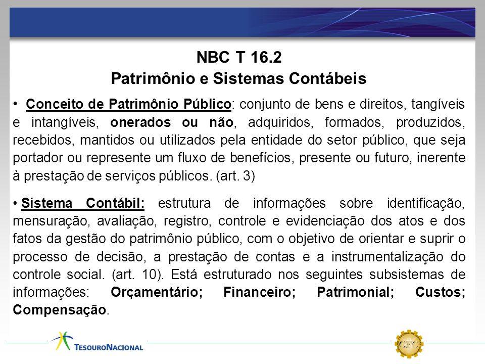 NBC T 16.2 Patrimônio e Sistemas Contábeis Conceito de Patrimônio Público: conjunto de bens e direitos, tangíveis e intangíveis, onerados ou não, adqu