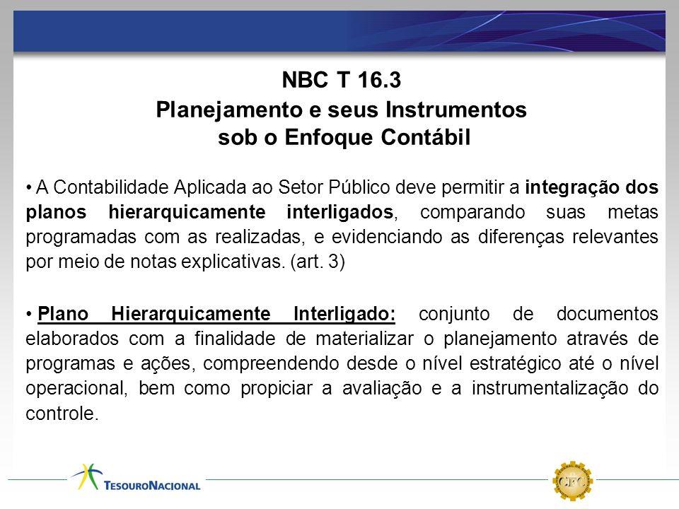NBC T 16.3 Planejamento e seus Instrumentos sob o Enfoque Contábil A Contabilidade Aplicada ao Setor Público deve permitir a integração dos planos hie