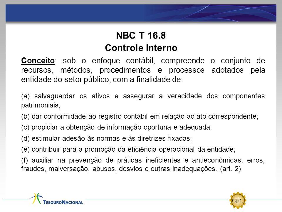 NBC T 16.8 Controle Interno Conceito: sob o enfoque contábil, compreende o conjunto de recursos, métodos, procedimentos e processos adotados pela enti