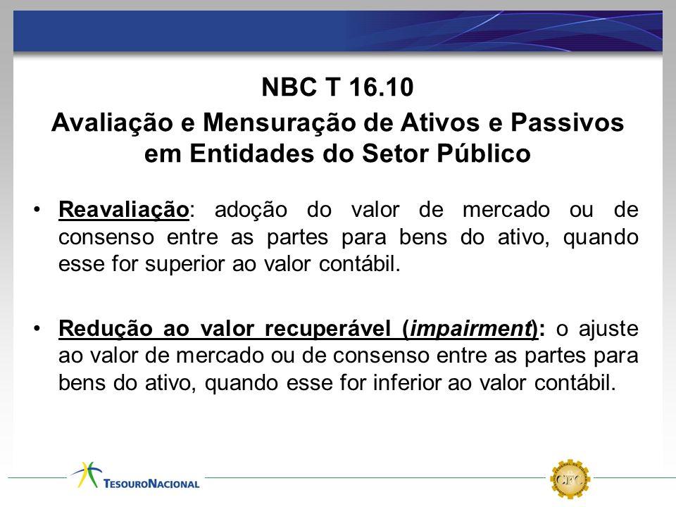 NBC T 16.10 Avaliação e Mensuração de Ativos e Passivos em Entidades do Setor Público Reavaliação: adoção do valor de mercado ou de consenso entre as
