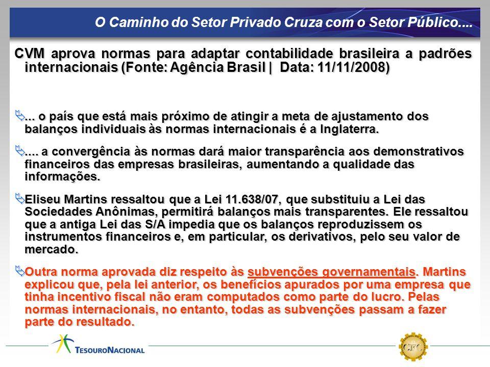 CVM aprova normas para adaptar contabilidade brasileira a padrões internacionais (Fonte: Agência Brasil | Data: 11/11/2008)... o país que está mais pr