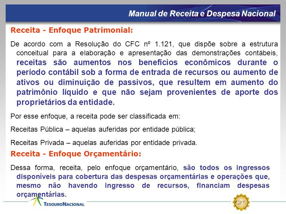 Receita - Enfoque Patrimonial: De acordo com a Resolução do CFC nº 1.121, que dispõe sobre a estrutura conceitual para a elaboração e apresentação das