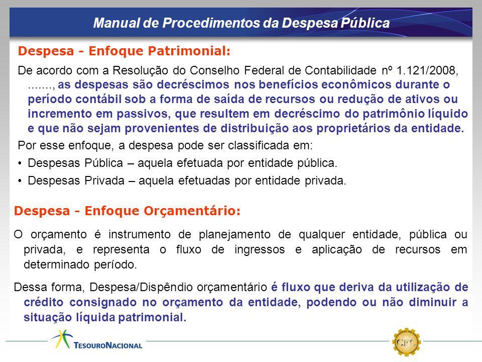 Manual de Procedimentos da Despesa Pública Despesa - Enfoque Patrimonial: De acordo com a Resolução do Conselho Federal de Contabilidade nº 1.121/2008