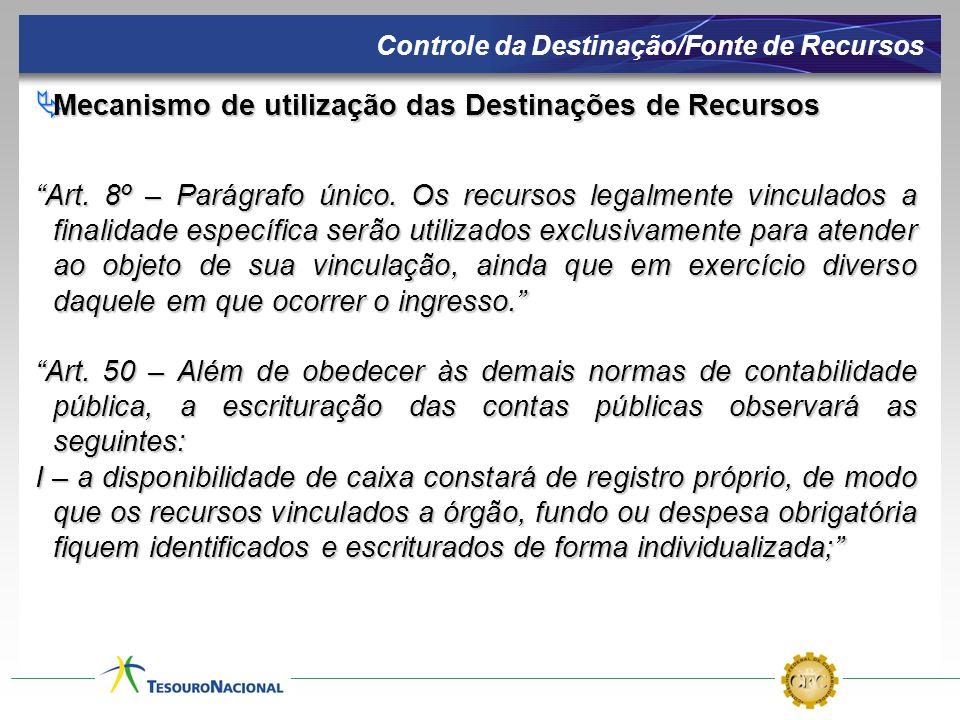Mecanismo de utilização das Destinações de Recursos Mecanismo de utilização das Destinações de Recursos Art. 8º – Parágrafo único. Os recursos legalme